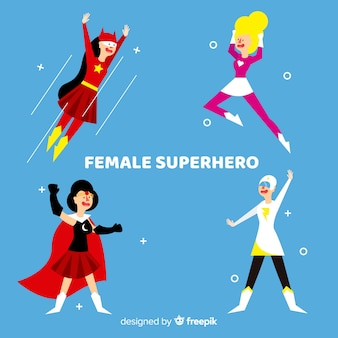 Collection de personnages féminins de super-héros en style cartoon
