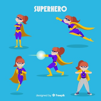 Collection de personnages féminins de superhéros dans un style comique