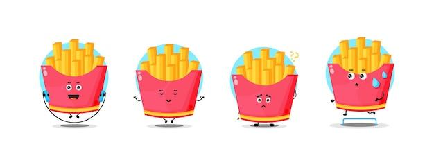 Collection de personnages de frites mignonnes