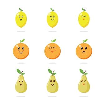 Collection de personnages de fruits mignons