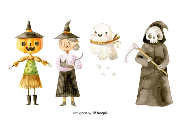 Collection de personnages halloween aquarelle