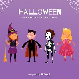 Collection de personnages d'halloween au design plat