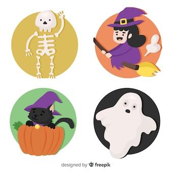 Collection de personnages d'halloween classique au design plat