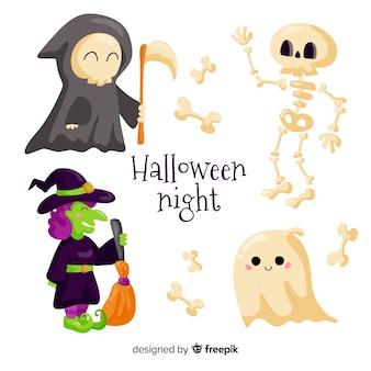Collection de personnages halloween design plat