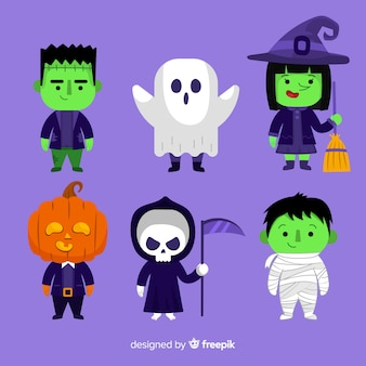 Collection de personnages halloween design plat