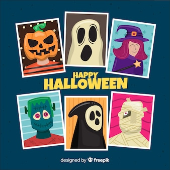 Collection de personnages d'halloween sur design plat