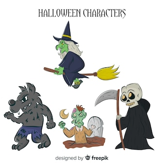 Collection de personnages halloween dessinés à la main effrayant