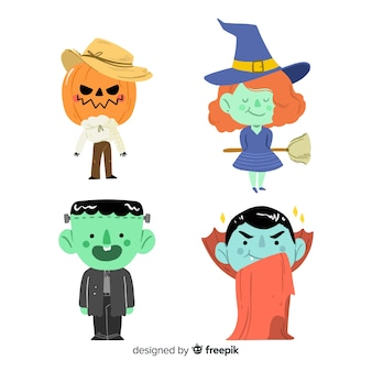 Collection de personnages halloween dessinés à la main