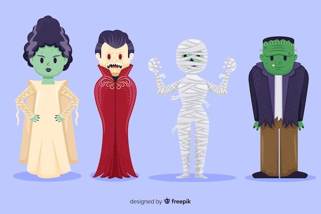 Collection de personnages de halloween dessinés à la main