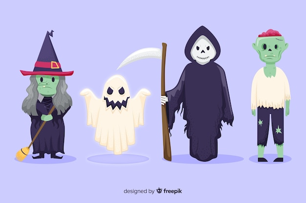 Collection de personnages de halloween dessinés à la main