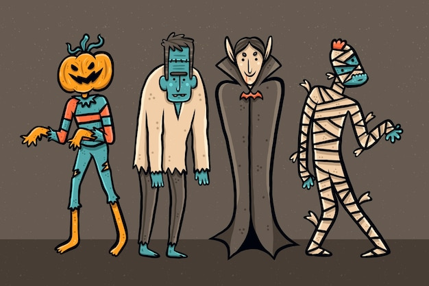 Collection de personnages d'halloween dessinés à la main