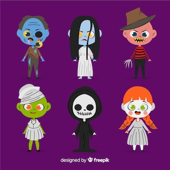 Collection de personnages halloween dessinés à la main