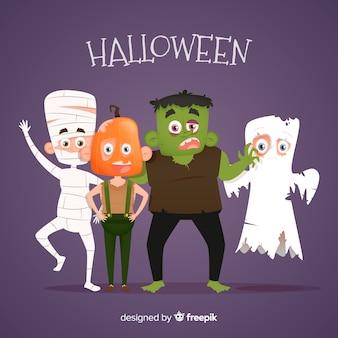 Collection de personnages halloween effrayant et plat