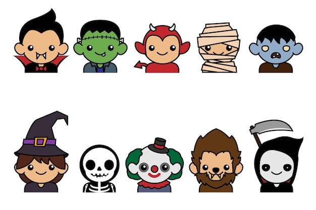 Collection de personnages de halloween mignons