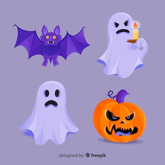 Collection de personnages halloween plat