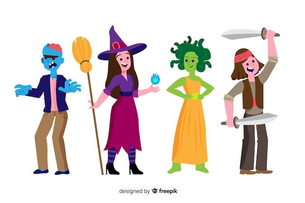 Collection de personnages halloween plat