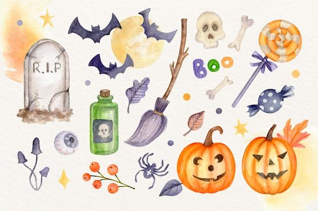 Collection de personnages d'halloween plats