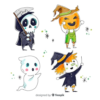 Collection de personnages halloween style aquarelle