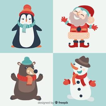 Collection de personnages heureux de noël dessinés à la main