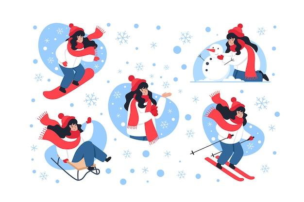 Collection de personnages d'hiver, activités d'hiver