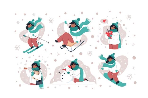 Collection de personnages d'hiver dans un style plat