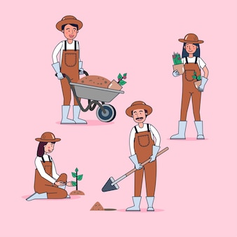 Collection de personnages de jardinier grand ensemble illustration plate isolée portant un uniforme professionnel, style cartoon