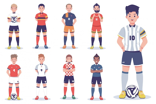 Collection de personnages de joueurs de football