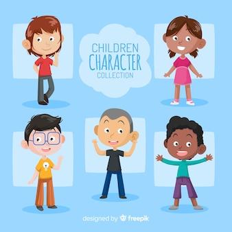 Collection de personnages de jour pour enfants dessinés à la main