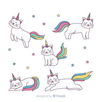 Collection de personnages kawaii caticorn