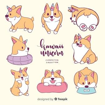 Collection de personnages de licorne kawaii