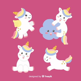 Collection de personnages de licorne kawaii