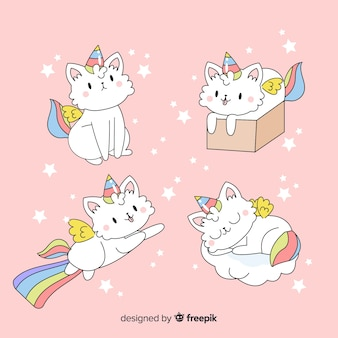 Collection de personnages de licorne mignons de kawaii
