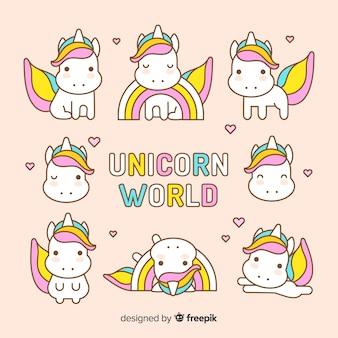 Collection de personnages de licorne mignons de kawaii