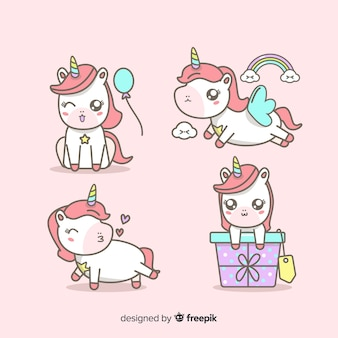 Collection de personnages de licorne à la mode kawaii