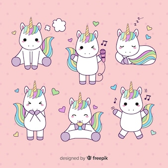 Collection de personnages de licorne de style kawaii