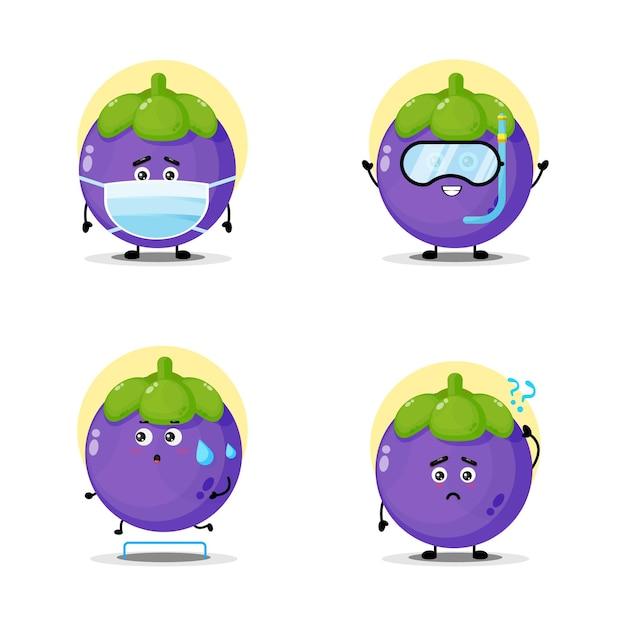 Collection de personnages de mangoustan mignon