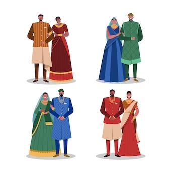 Collection de personnages de mariage indien
