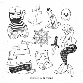 Collection de personnages marins dessinés à la main