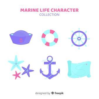 Collection de personnages marins dessinés à la main
