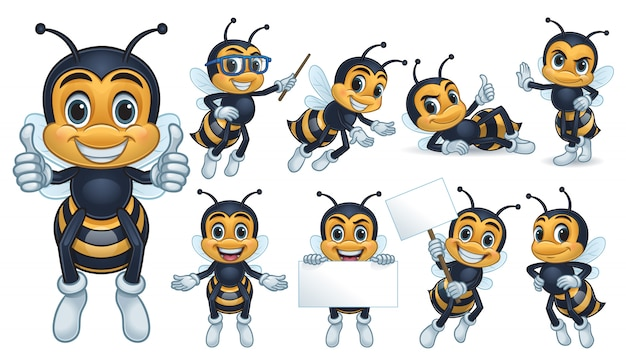 Collection de personnages mascotte abeille