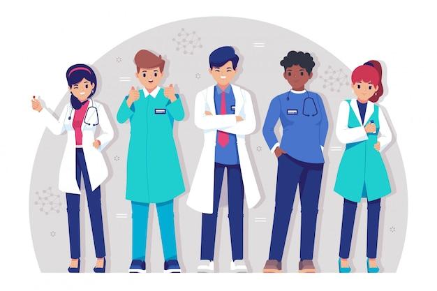 Collection de personnages de médecin plat