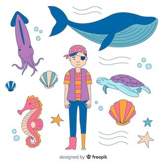 Collection de personnages de mer dessinés à la main