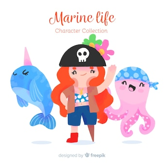 Collection de personnages de mer dessinés à la main