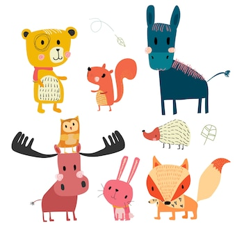 Collection de personnages mignons animaux dessinés à la main