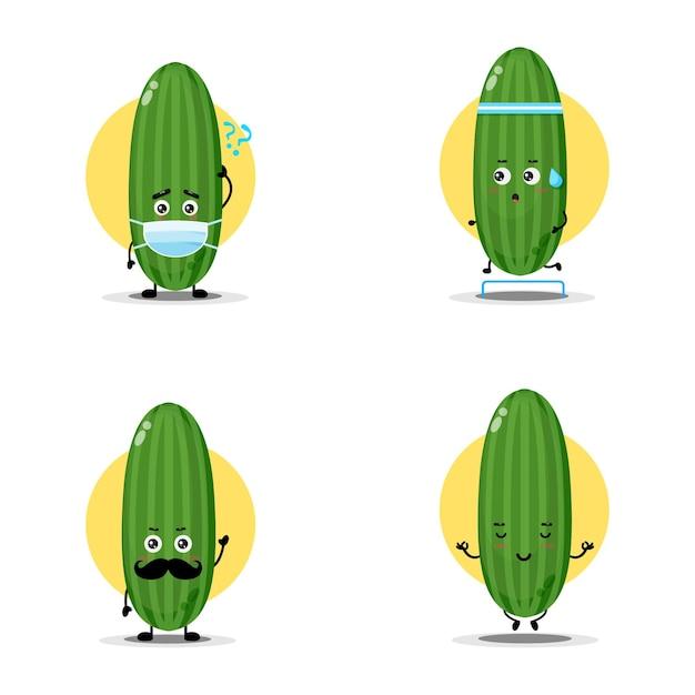 Collection de personnages mignons de concombre