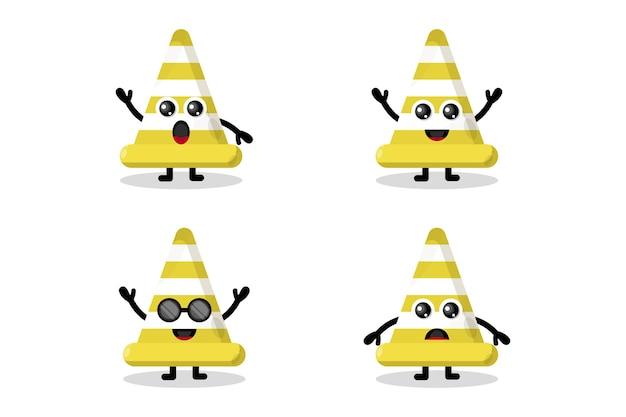 Collection de personnages mignons de cône de signalisation