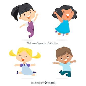 Collection de personnages mignons enfants au design plat