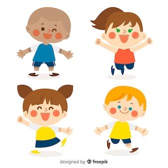 Collection de personnages mignons enfants au design plat