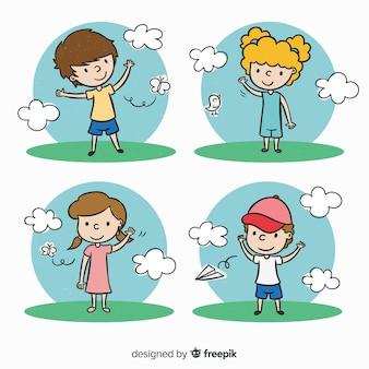 Collection de personnages mignons enfants dessinés à la main