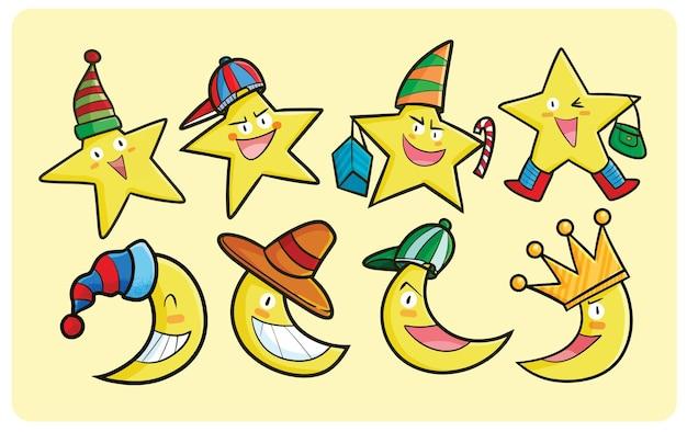 Collection de personnages mignons d'étoile et de lune dans le style de dessin animé kawaii